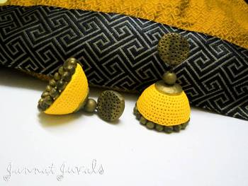 Yellow and Antique Gold Jhumka