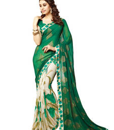 Green and Cream printed georgette saree with blouse