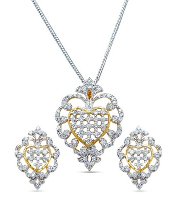Diamond Look Zircon Pendent Set Without Chain