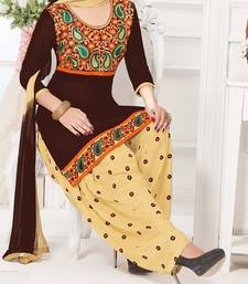 Buy Brown embroidered Cotton unstitched salwar with dupatta patiala-salwar online