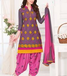 Buy Multicolor embroidered Cotton unstitched salwar with dupatta patiala-salwar online
