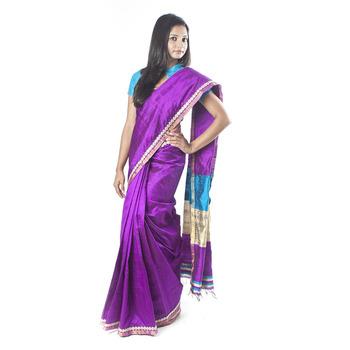 Purple Raw Silk Saree