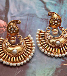 Buy Golden Paisley Earrings - Pearl hoop online