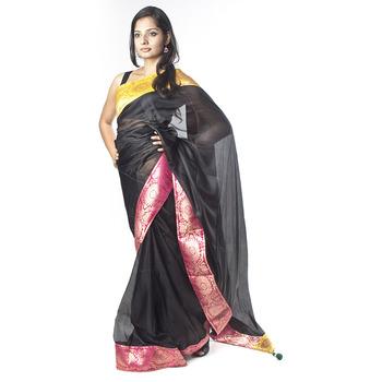Black, Yellow and Pink Saree