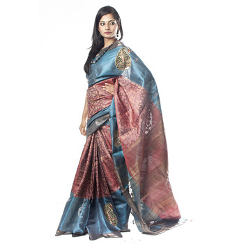Tusser Cut-work Saree