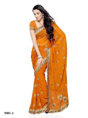 Mesmerizing Party Wear Designer Saree made from Georgette by Diva Fashion, Surat