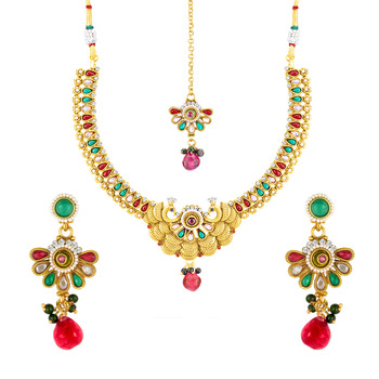 Traditional Ethnic Peacock Feather Necklace Set with Crystal & Artificial Pearl For Women
