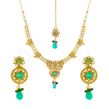 Traditional Ethnic Gold Plated Green Envy Necklace Set & Maang Tikka with Crystal for Women