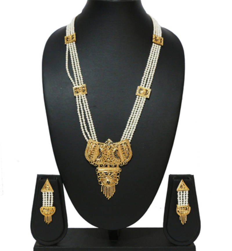 Buy Ethnic Gold Pearl Chain Royal Rani Haar Necklace Set