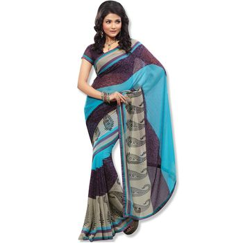 Fabdeal Navy Blue Colored Chiffon Saree With Unstitched Blouse