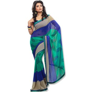Fabdeal sea Green & blue Colored chiffon saree with unstitched blouse