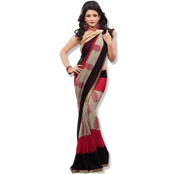 Fabdeal black & Red Colored chiffon saree with unstitched blouse