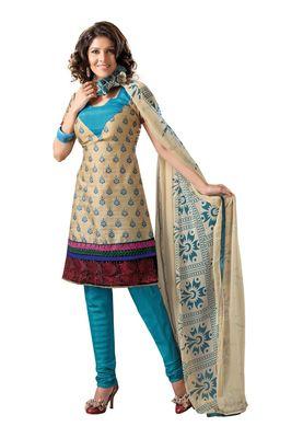 Fabdeal Casual Wear Cream & Blue Colored Bhagalpuri Silk Dress Material