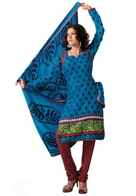 Fabdeal Casual Wear Blue & Maroon Colored Bhagalpuri Silk Dress Material