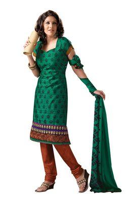 Fabdeal Casual Wear Green & Orange Colored Bhagalpuri Silk Dress Material