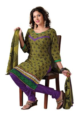Fabdeal Casual Wear Olive & Purple  Colored Bhagalpuri Silk Dress Material