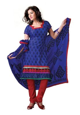 Fabdeal Casual Wear Blue & Red Colored Bhagalpuri Silk Dress Material