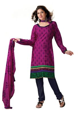 Fabdeal Casual Wear Dark Pink & Blue Colored Bhagalpuri Silk Dress Material
