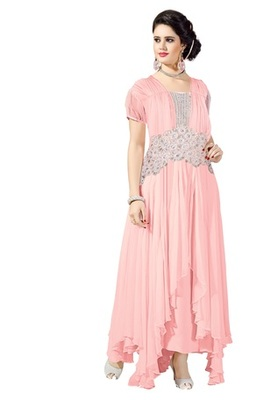 Pink embroidered georgette semi stitched salwar with party-wear-gowns
