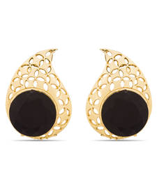 Buy Luxor Designer Black Gold Plated Earrings  ER-1386 stud online