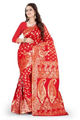 red plain art_silk saree with blouse