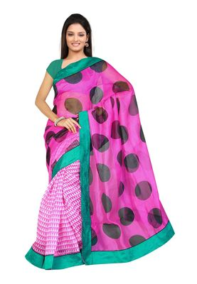 Fabdeal Pink Net Printed Saree With Blouse Piece