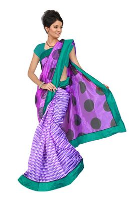 Fabdeal Purple Net Printed Saree With Blouse Piece