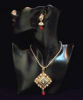 Antique n traditional golden red n green stones pendent set