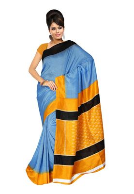 Fabdeal Steel Blue & Orange Silk Blend Printed Saree With Blouse Piece