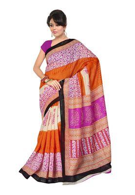 Fabdeal Orange Chanderi Silk Printed Saree With Blouse Piece