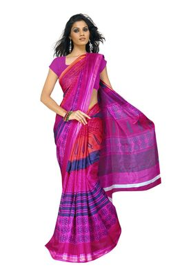 Fabdeal Pink & Blue Silk Printed Saree With Blouse Piece