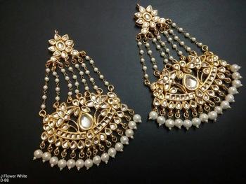 white pearl earring kundan jhoomer pair