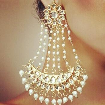 white pearl earring kundan nazaqat jhoomer pair
