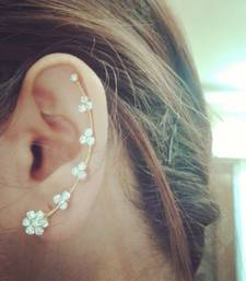 white cubic zircon earring cuff pair