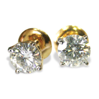 white cubic zircon earring solitaire stud pair