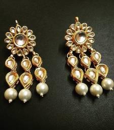 Buy white pearl earring kundan tear drop pair danglers-drop online
