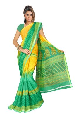 Fabdeal Green & Yellow Silk Blend Printed Saree With Blouse Piece