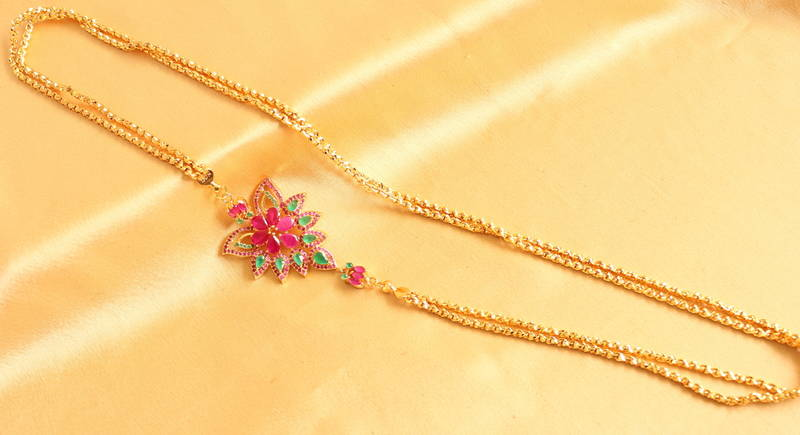 Buy Gorgeous Golgplated Designer Pink Green Floral Mugappu