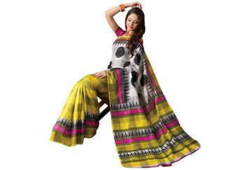 Fabdeal Yellow & White Bhagalpuri Silk Printed Saree With Blouse Piece