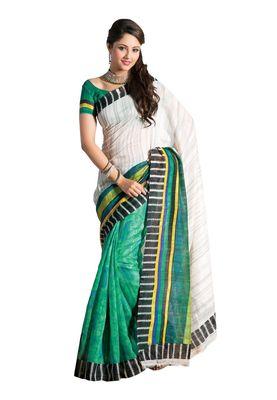 Fabdeal White & Green Bhagalpuri Silk Printed Saree With Blouse Piece