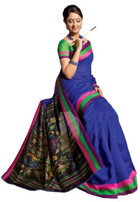 Fabdeal Blue & Black Bhagalpuri Silk Printed Saree With Blouse Piece