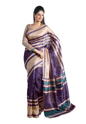 Fabdeal Golden & Dark Magenta Bhagalpuri Silk Printed Saree With Blouse Piece