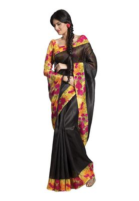 Fabdeal Black Bhagalpuri Silk Printed Saree With Blouse Piece