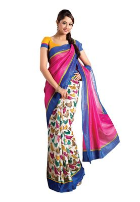 Fabdeal Pink & White Bhagalpuri Silk Printed Saree With Blouse Piece