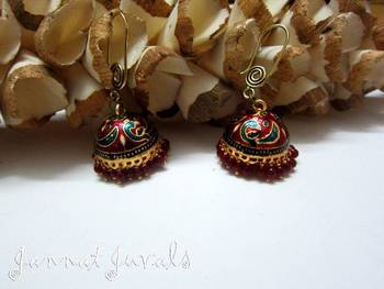 Meenakari jhumka with Red hangings