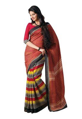 Fabdeal Brown Bhagalpuri Silk Printed Saree With Blouse Piece