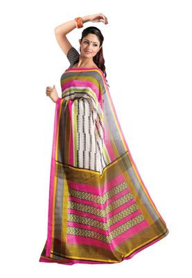 Fabdeal White & Black Bhagalpuri Silk Printed Saree With Blouse Piece