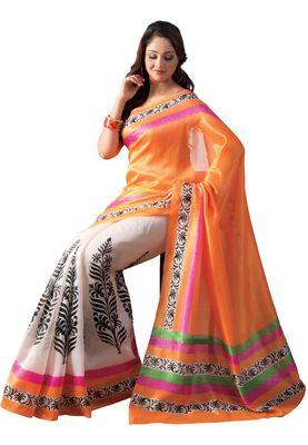 Fabdeal Orange Bhagalpuri Silk Printed Saree With Blouse Piece