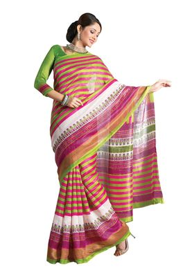 Fabdeal Pink & Green Bhagalpuri Silk Printed Saree With Blouse Piece