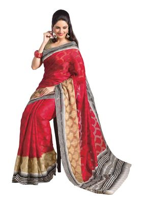 Fabdeal Red & Golden Bhagalpuri Silk Printed Saree With Blouse Piece